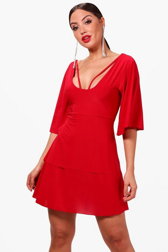 Paula Angel Sleeve Caged Back Skater Dress