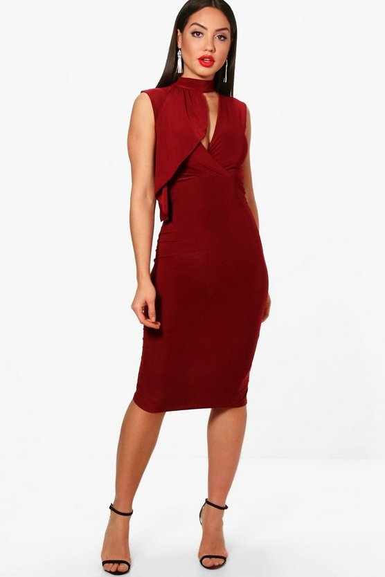 High Neck Drape Detail Bodycon Dress