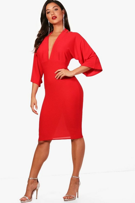 Iona Kimono Sleeve Cold Shoulder Midi Dress