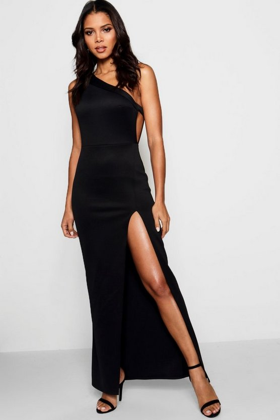 Emzy One Shoulder Split Leg Maxi Dress