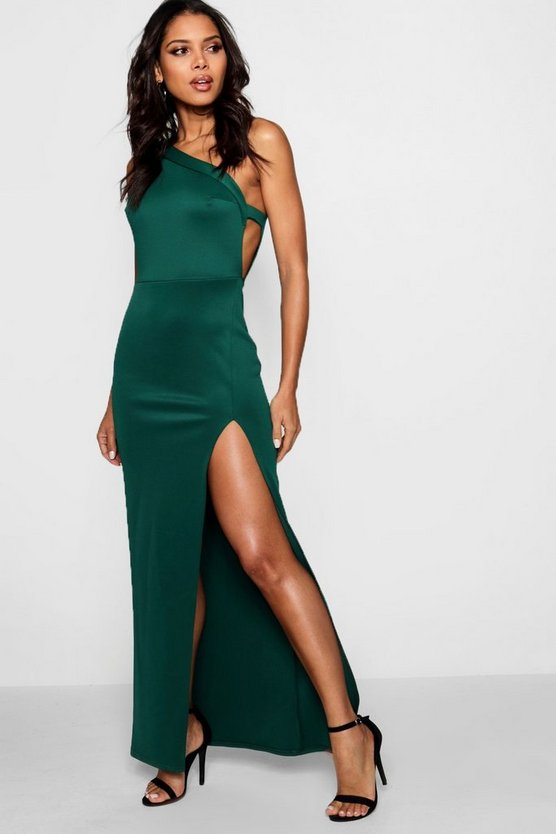 One Shoulder Split Leg Maxi Dress