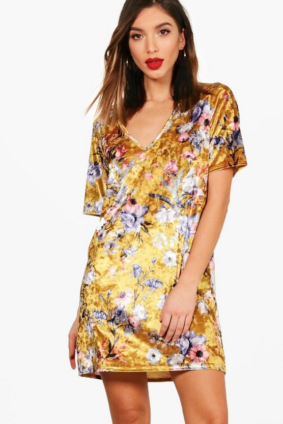 Plunge Printed Velvet Shift Dress
