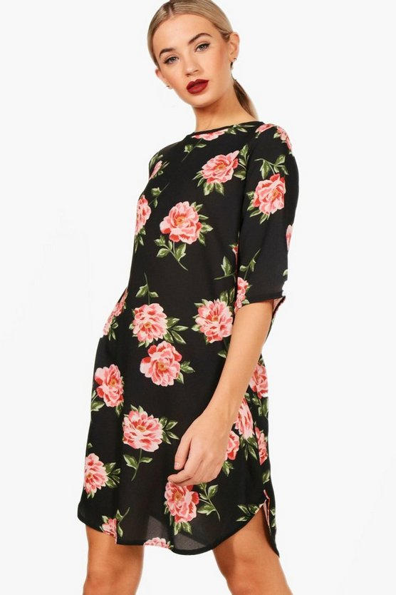 Nicole Large Floral 3/4 Sleeve Shift Dress