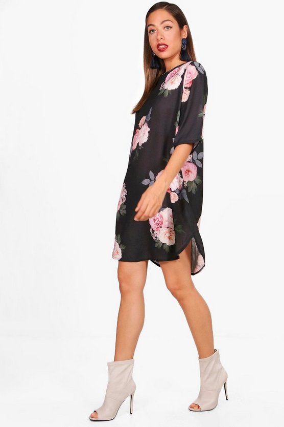 Leila Large Floral 3/4 Sleeve Shift Dress
