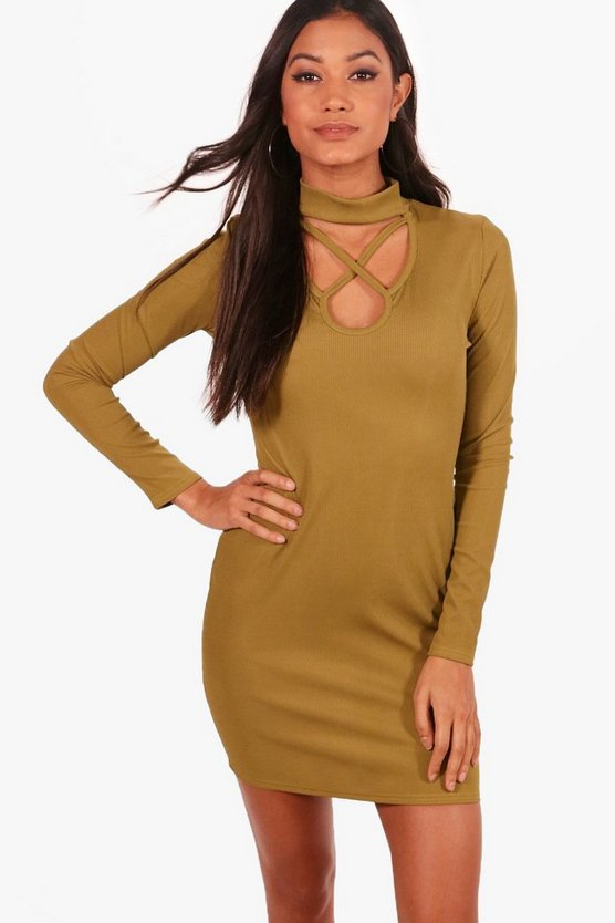 Ana High Neck Strappy Ribbed Bodycon Dress