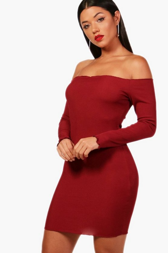 Nay Ruffle Hem Off The Shoulder Bodycon Dress