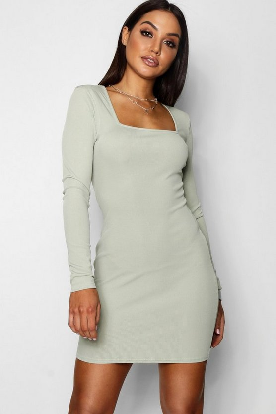 Freya Square Neck Ribbed Bodycon Dress