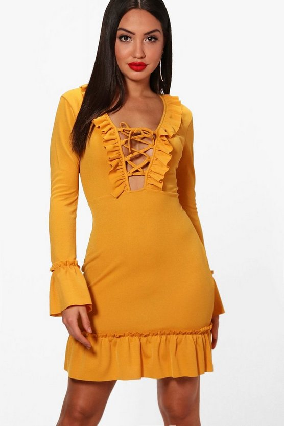 Lace Up Front Ruffle Hem Tea Dress