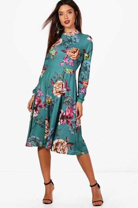 Ellie High Neck Floral Midi Dress