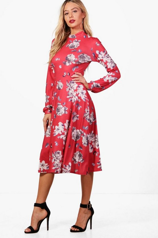 Angie High Neck Floral Midi Dress