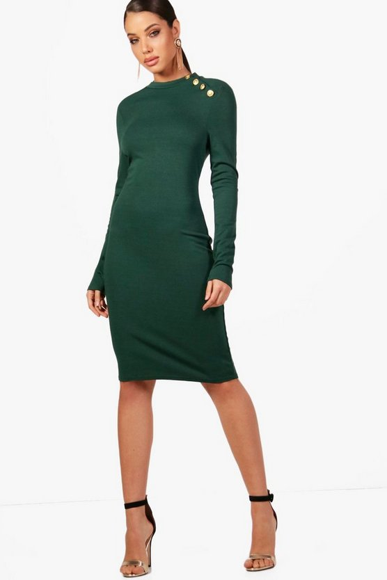 Suzie Button Detail Bodycon Dress