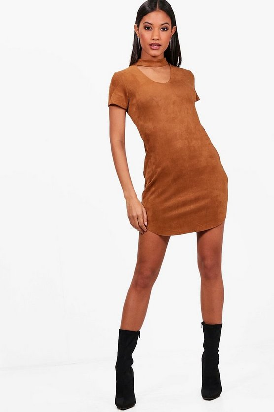 Larsa Suede Choker Dress
