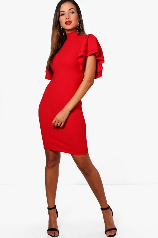 Frill Sleeve High Neck Dress