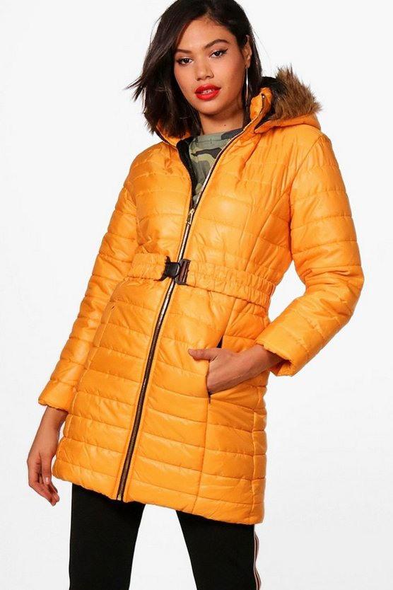 Faux Fur Hood Longline Padded Jacket