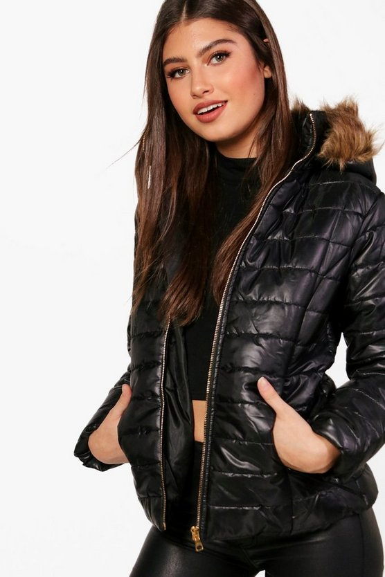 Crop Faux Fur Hood Padded Jacket