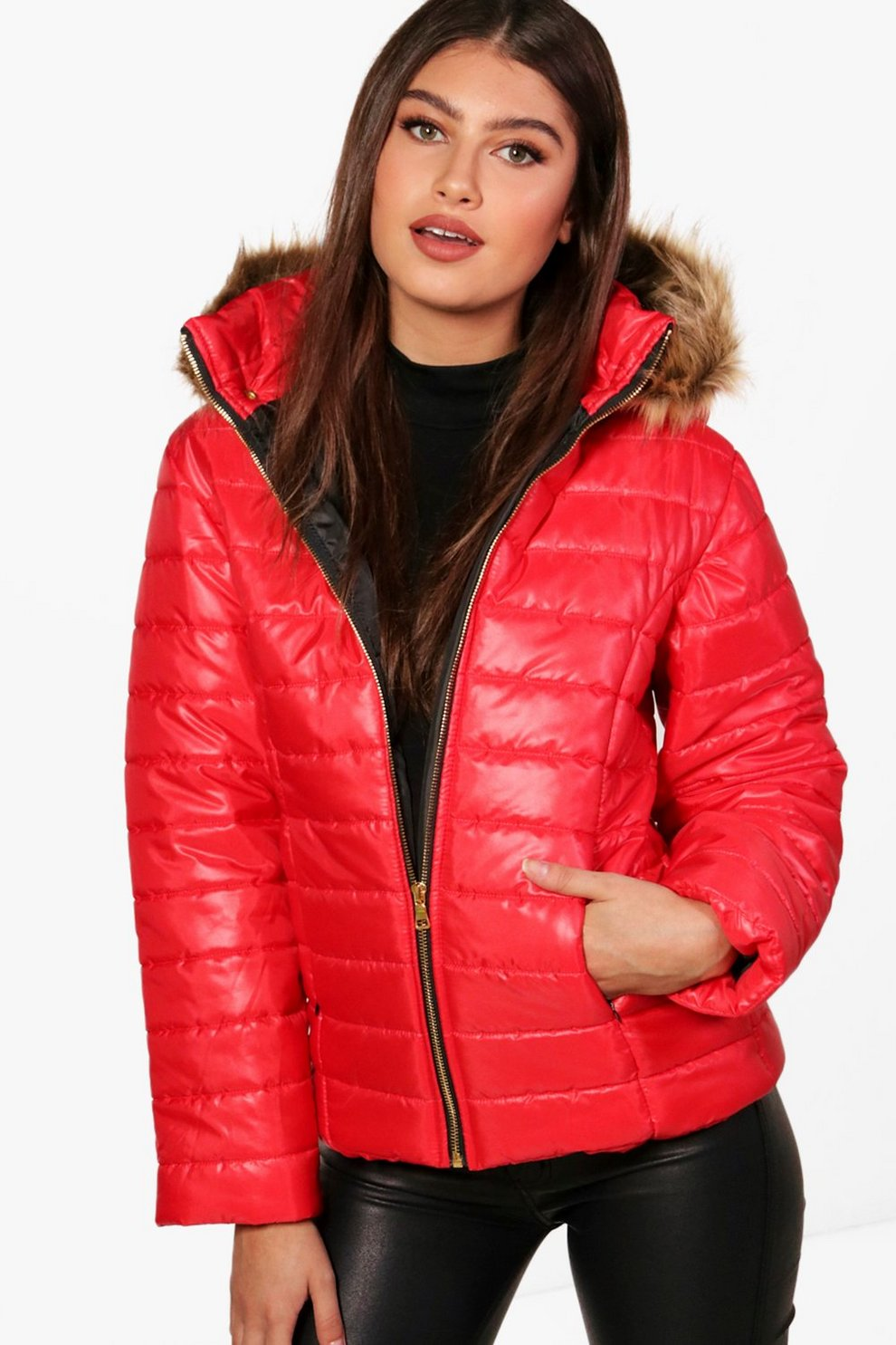 Charlotte Crop Faux Fur Hood Padded Jacket