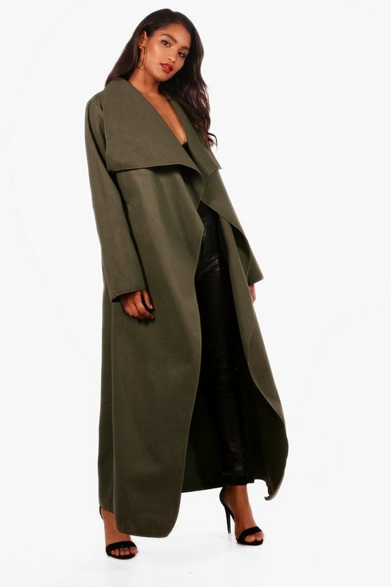 Maxi Waterfall Belted Coat