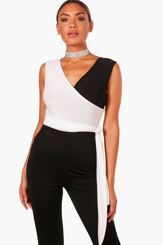 Contrast Colour Block Wrap Bodysuit