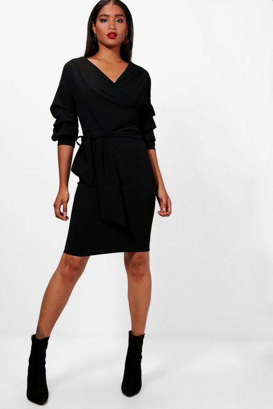 Sasha Ruffle Sleeve Belted Dress