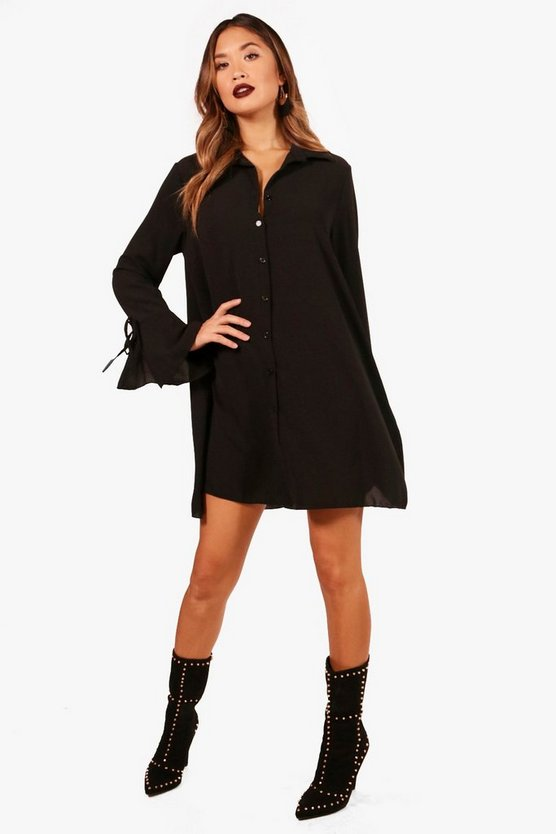 Abigail Flute Sleeve Shirt Dress
