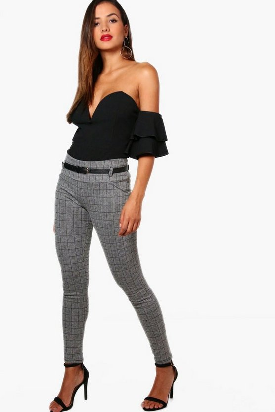 Belted Check Skinny Trouser