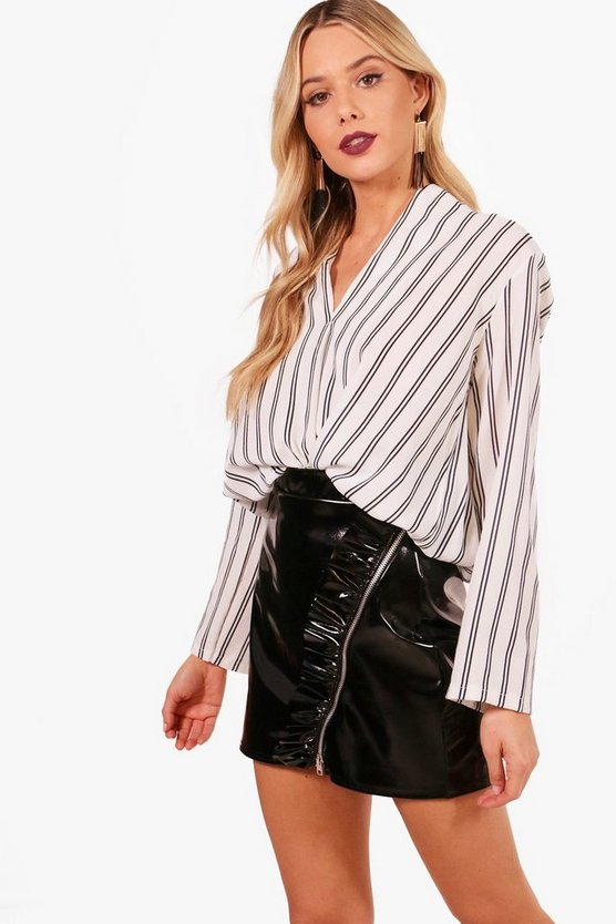 Becky Stripe Wrap Over Shirt
