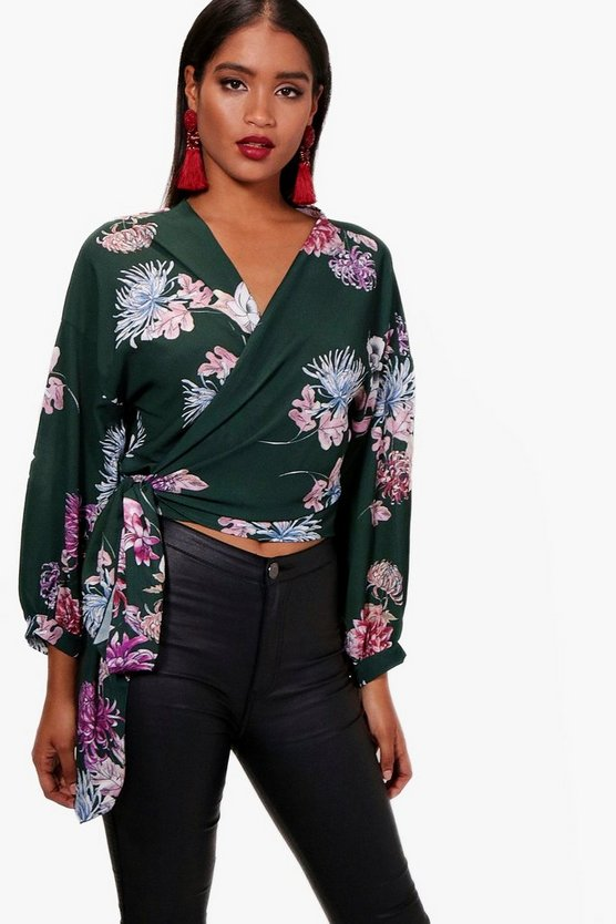 Freya Printed Wrap Over Blouse