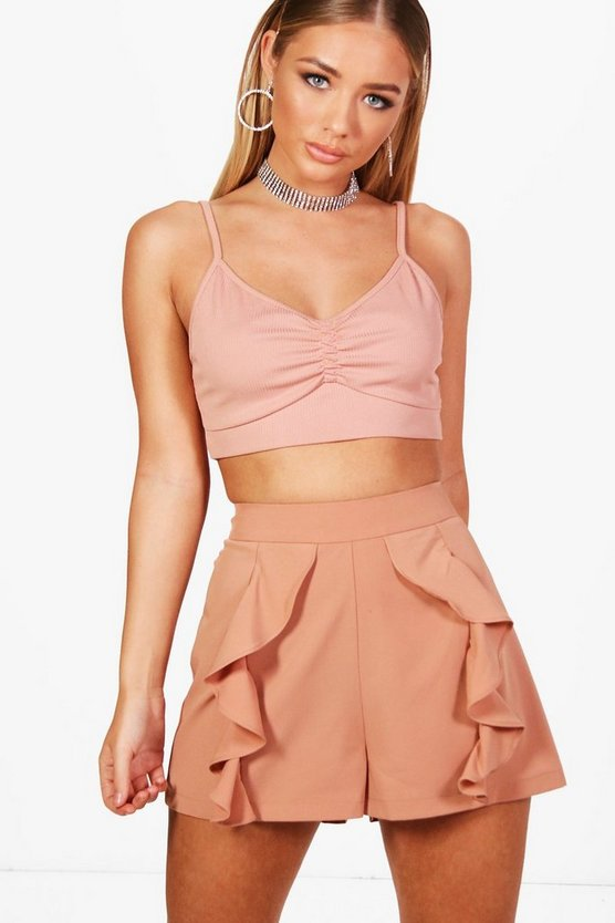 Ruffle Tailored Shorts