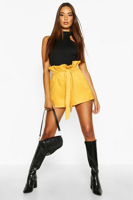 Ashley Paper Bag Waist Tie Belted Shorts