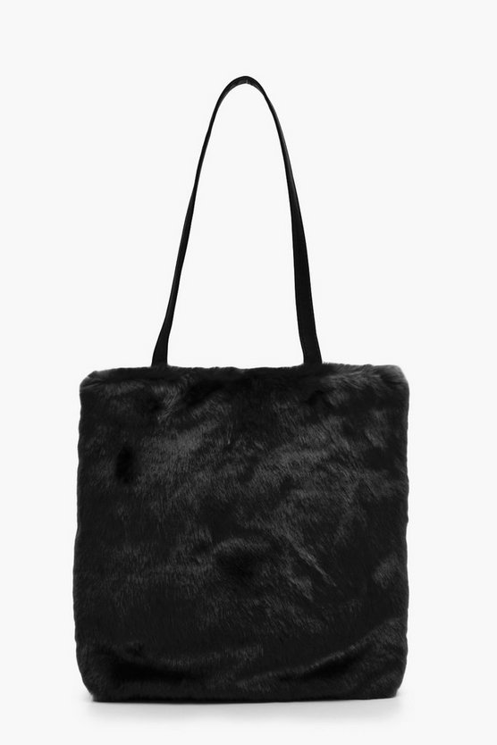 Katie Faux Fur PU Handle Shopper