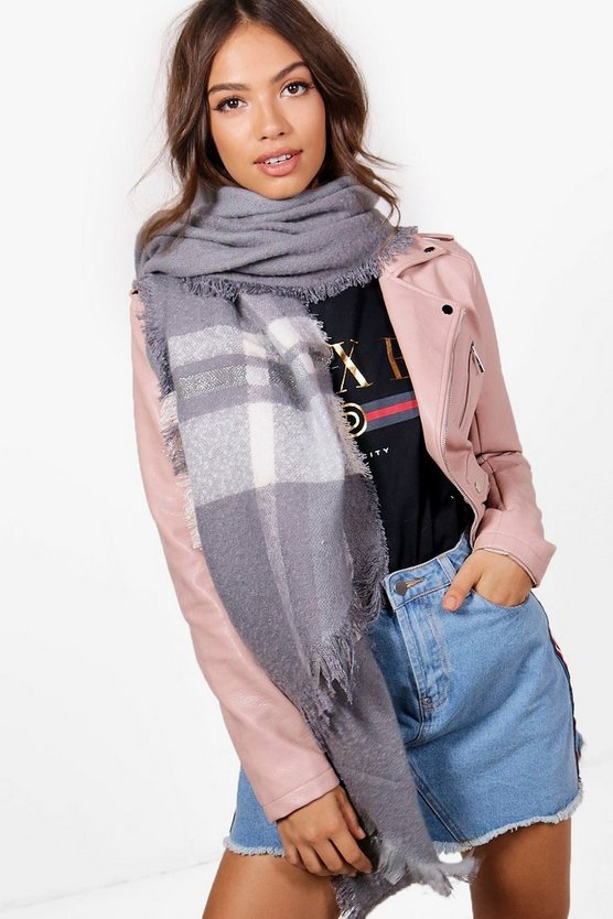 Erin Oversized Metallic Mix Checked Scarf