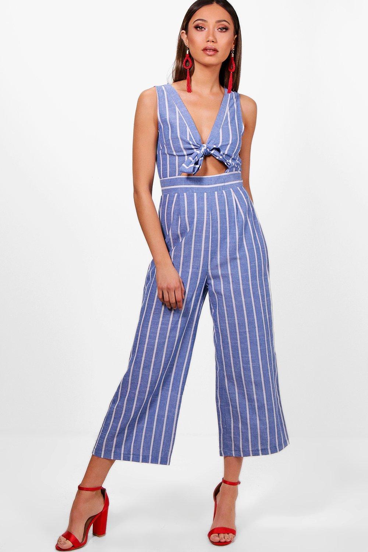 Womens Streifen und Jumpsuit mit Hosenrock - Blau - 34, Blau - Boohoo.com