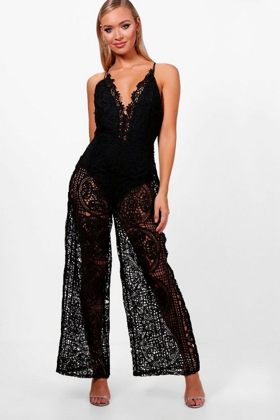 Boutique All Over Crochet Culotte Jumpsuit