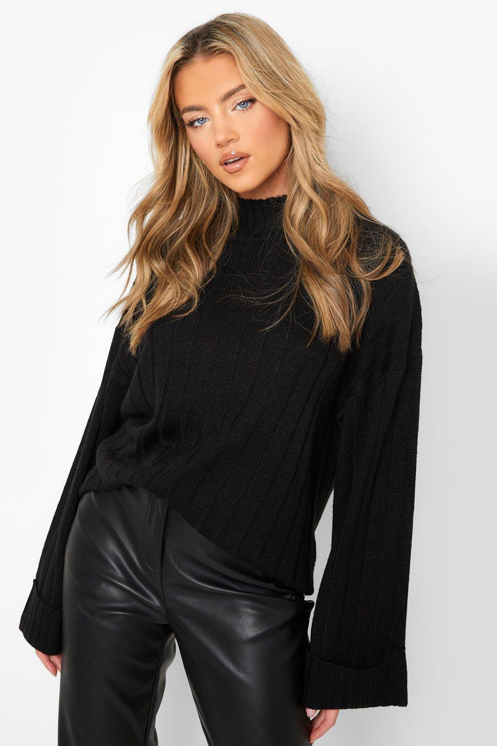 Don't Miss Out Maxi Wide Sleeve Wide Rib Jumper