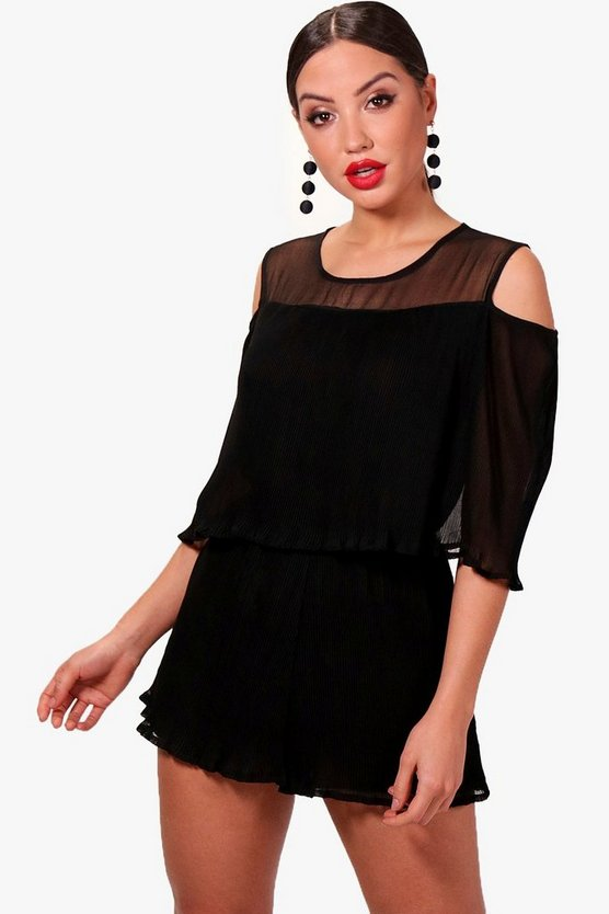 Jewel Pleated Open Shoulder Playsuit