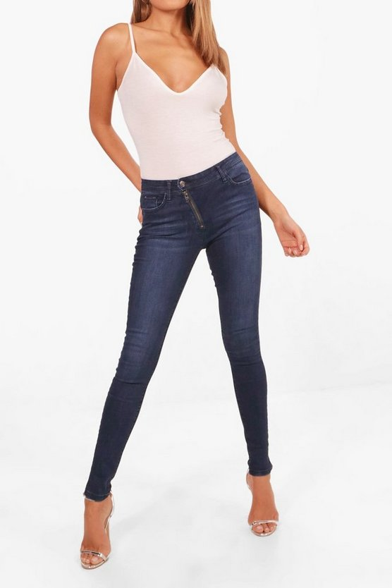 Caroline Low Rise Angled Zip Skinny Jeans