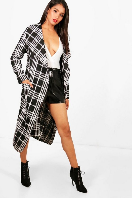 Poppy Check Waterfall Coat
