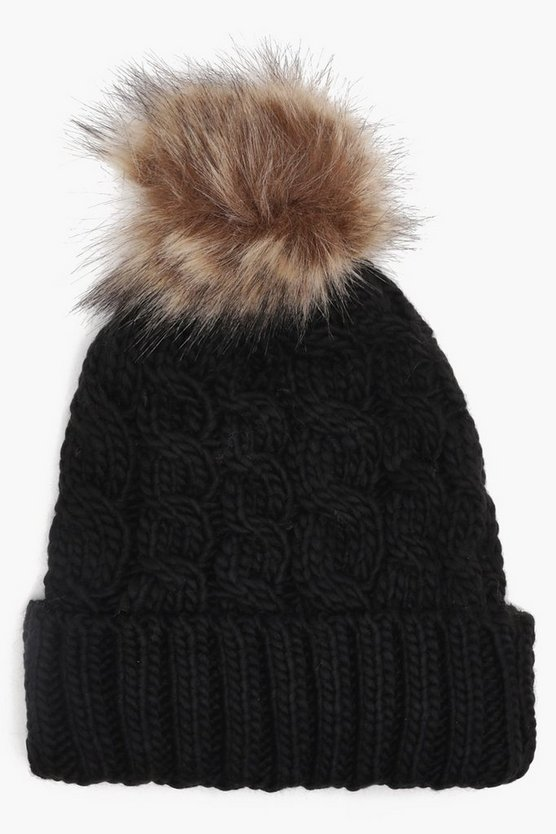 Ria Fleece Lined Cable Knit Beanie Hat