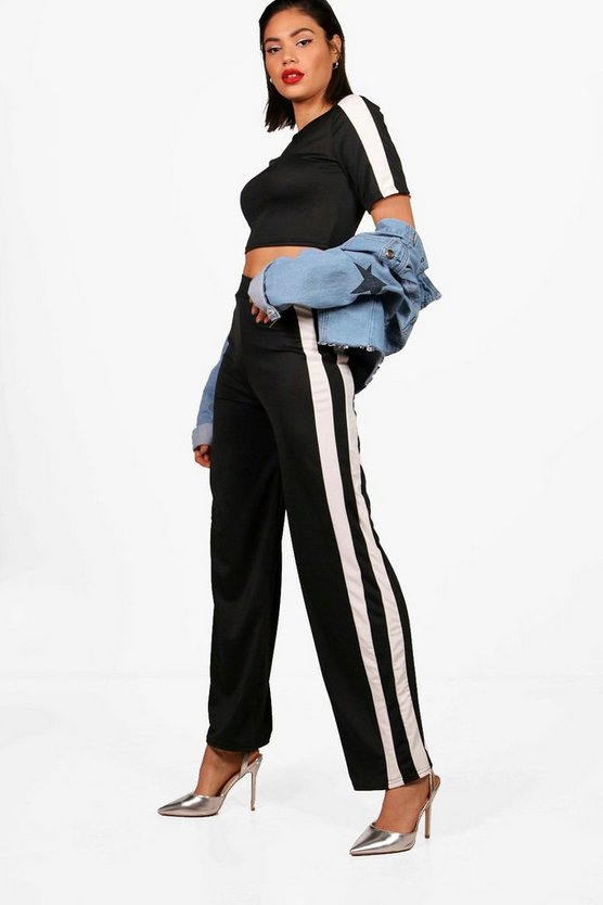 Mae Athleisure Stripe Crop Top & Flare Set