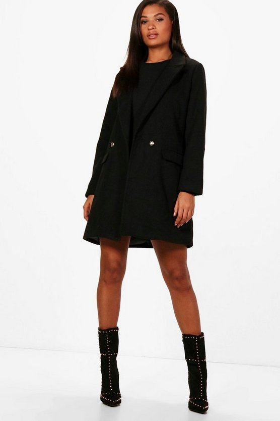 Military Button Wool Look Coat