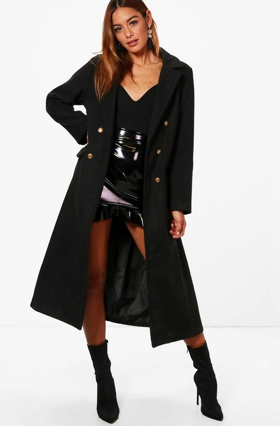 Military Long Wool Look Coat