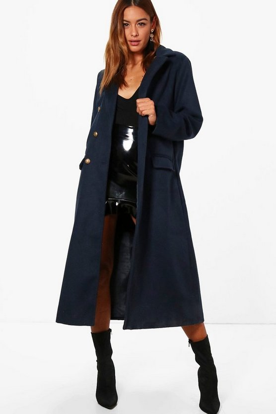 Isla Military Long Wool Look Coat