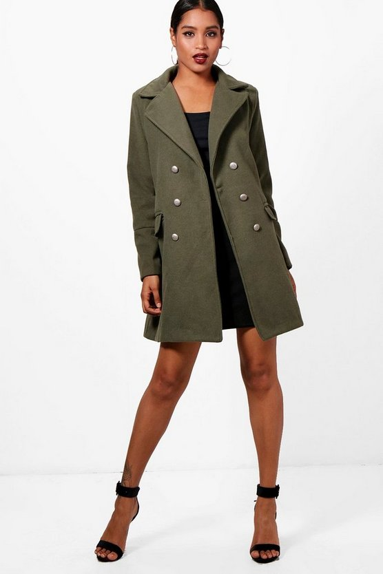 Marley Double Breasted Military Wool Look Coat