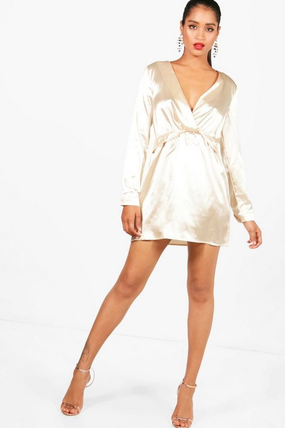 Satin Twist Shift Dress