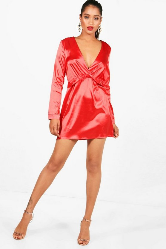Boohoo Satin Twist Shift Dress Find Great Cheap Pre Order 13YWuqr