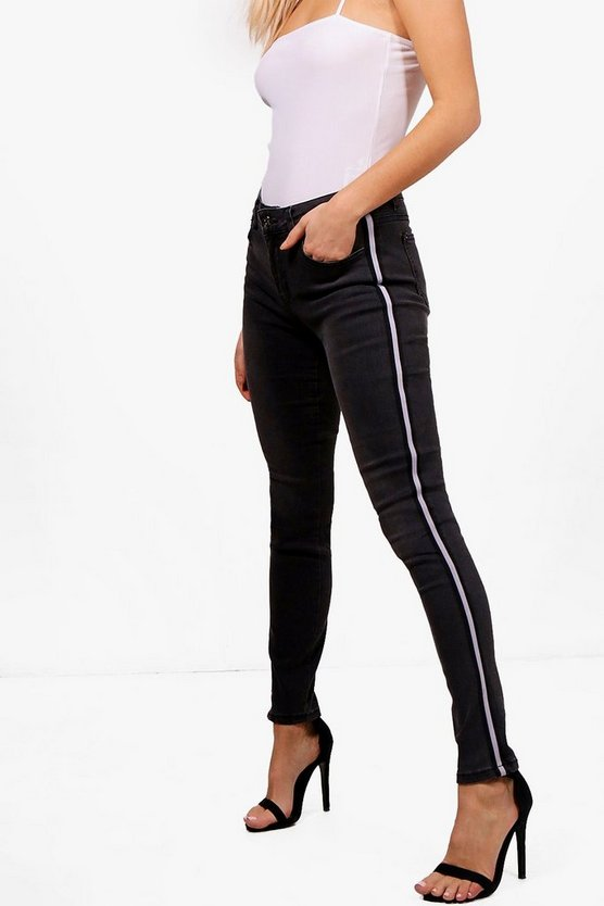 Michelle High Rise Sport Stripe Skinny Jeans