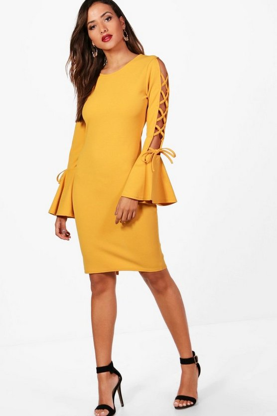Louise Fluted Sleeve Dress