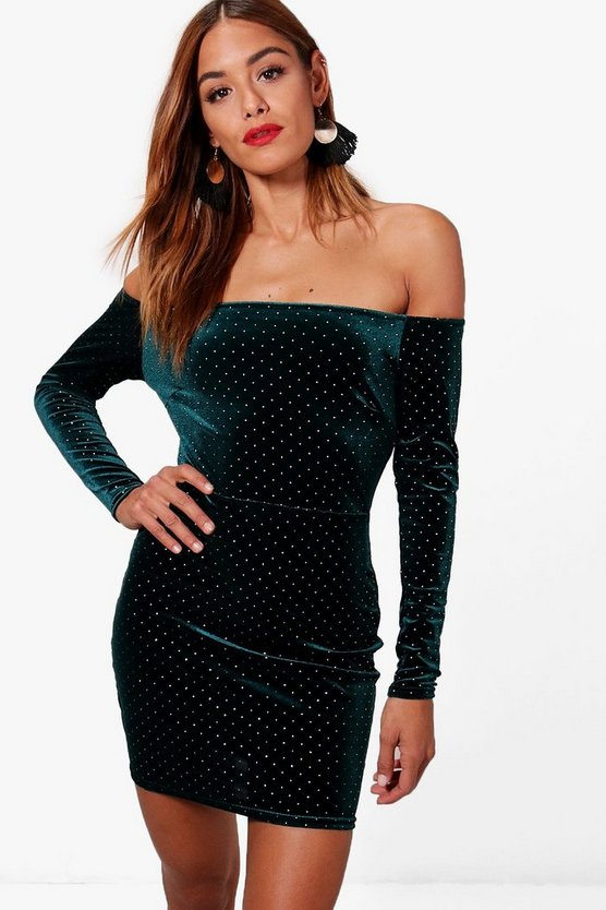 Dea Velvet Off the Shoulder Bodycon Dress