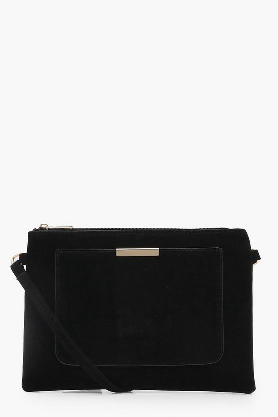 Yasmin Suedette Pocket & Bar Cross Body