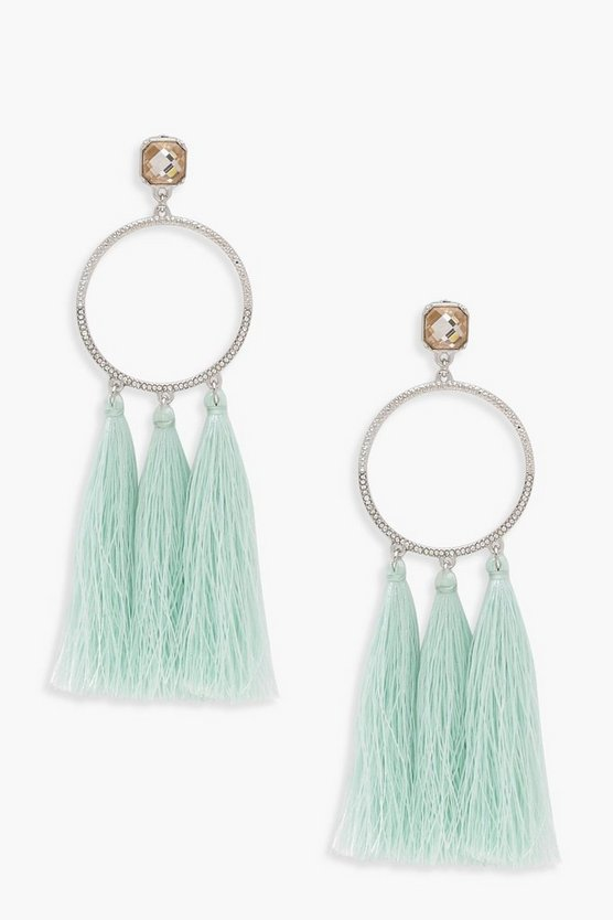 Jodie Tassel & Diamante Hoop Earrings